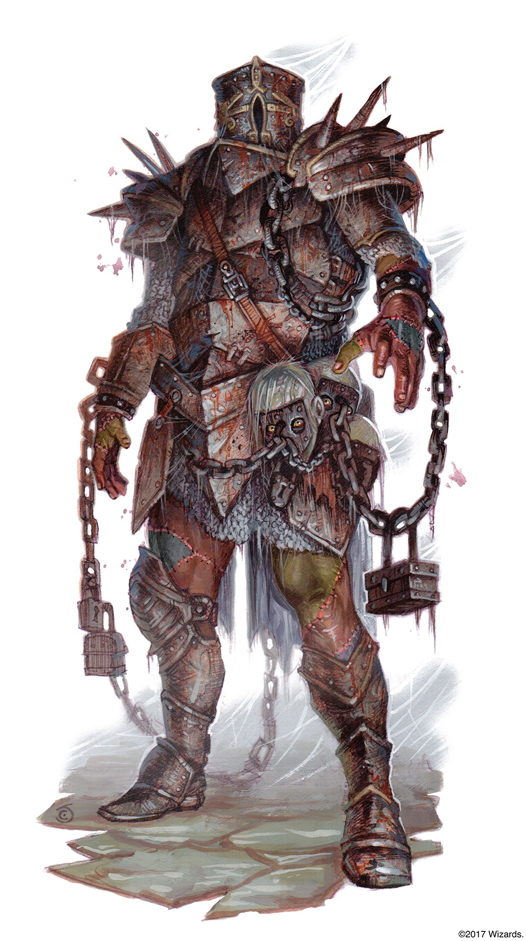 A tomb guardian clad in iron armor with chains and blood surrounding it.