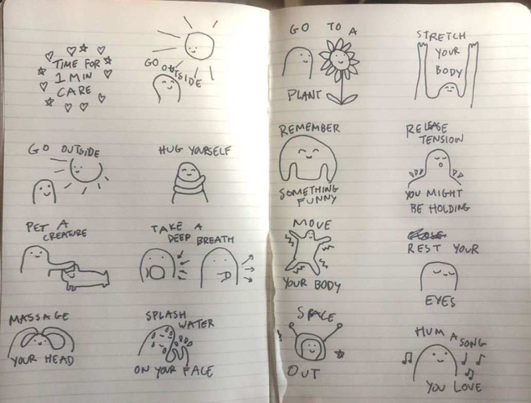 Simple sketches of various activities of self care