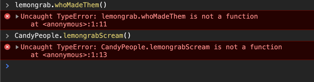 An example showing that Instance Functions don't work on Classes and Static functions don't work on instances