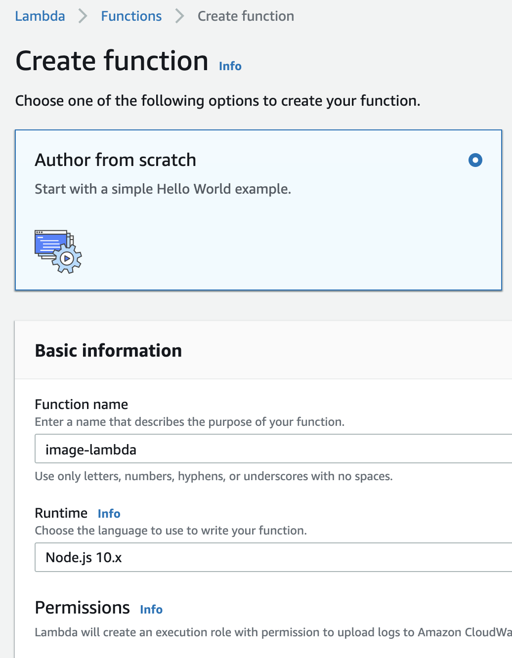 Create Function — Basic Information