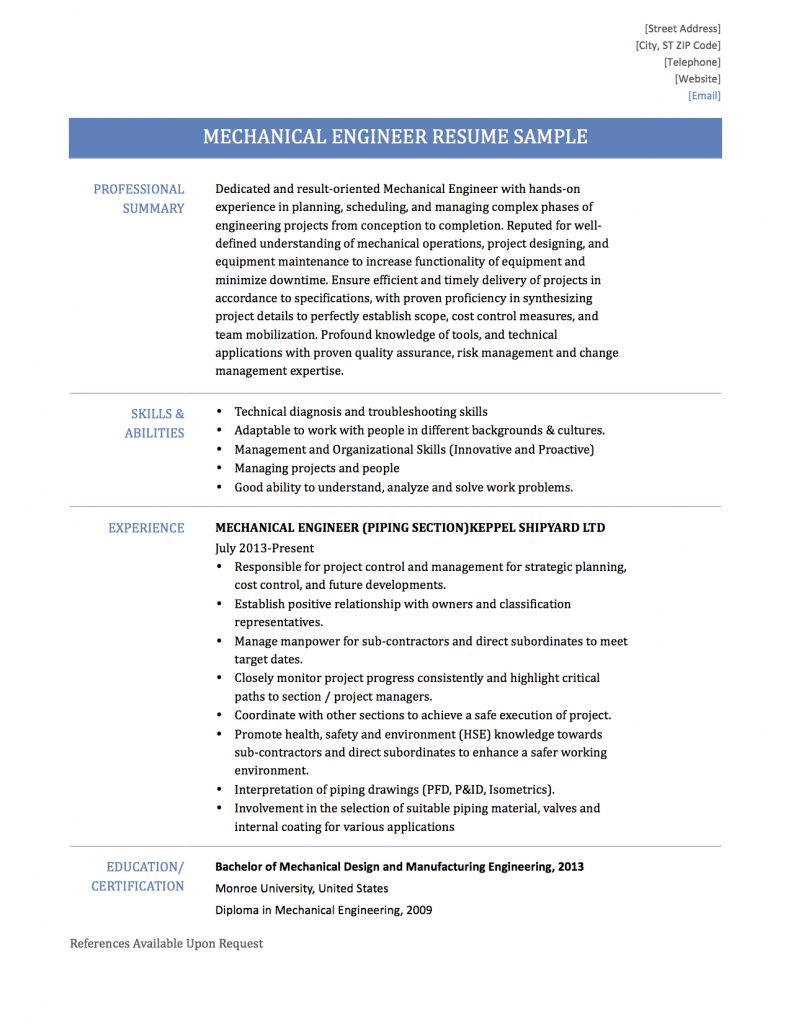Mechanical Engineer Resume Samples Tips And Templates