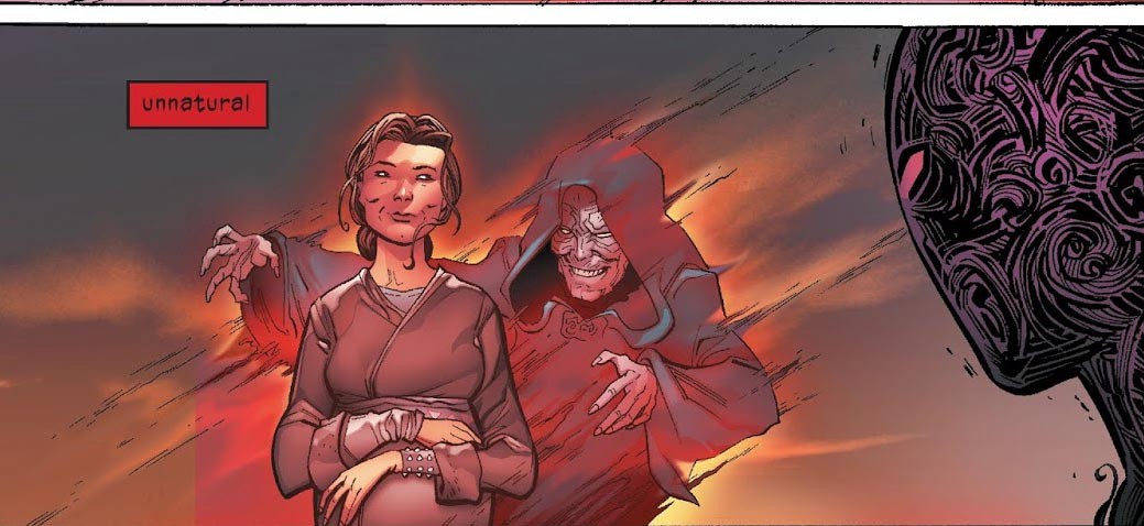 Vader has a vision of the Emperor manipulating his conception through his mother.