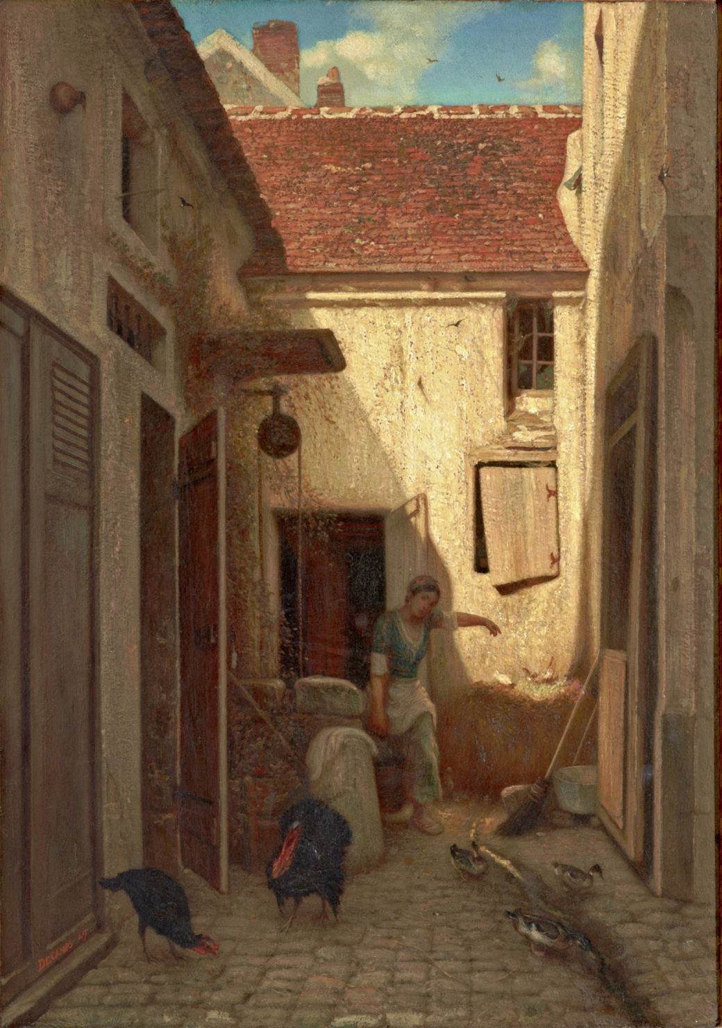 Painting of a European alleyway with pecking birds and a woman carrying a heavy bucket through an alley door.