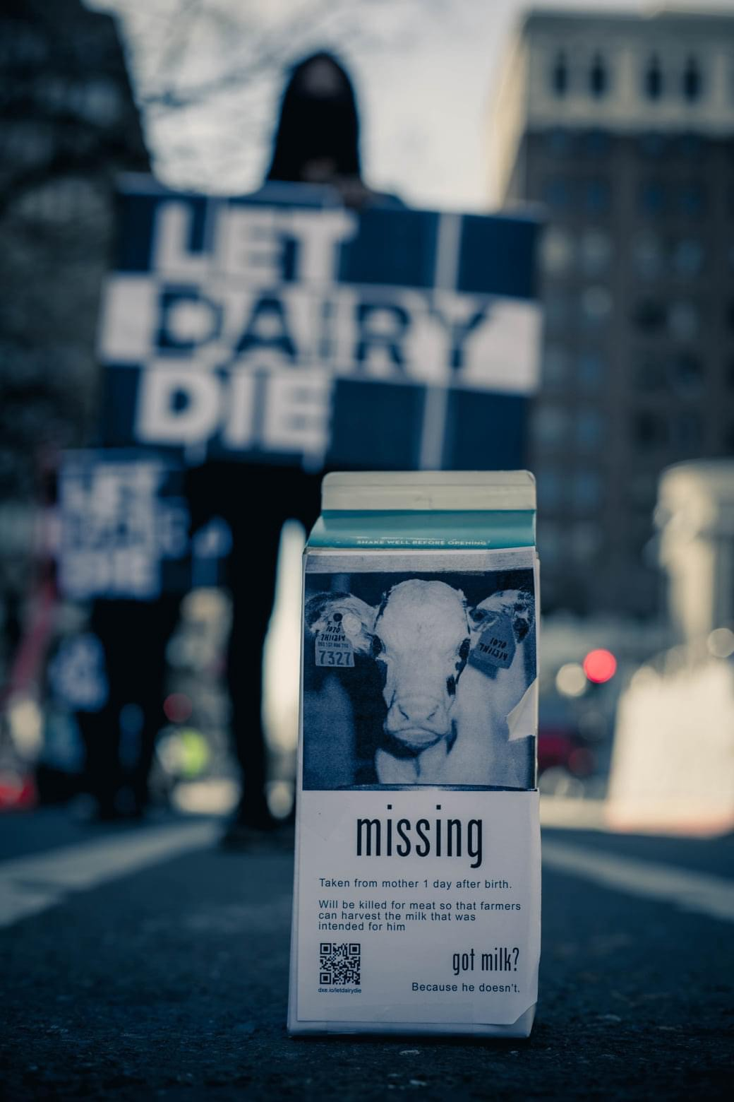 """Pictured is a milk carton that says """"Missing. Taken from mother 1 day after birth. Will be killed for meat so that farmers can harvest the milk that was intended for him. Got milk? Because he doesn't."""""""