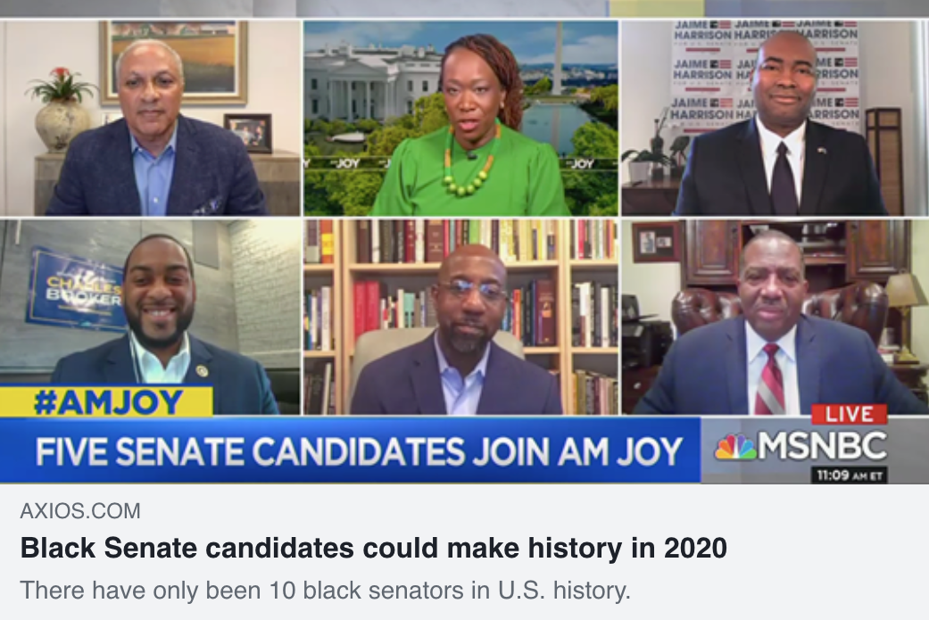 Axios headline: Black Senate candidates could make history in 2020.