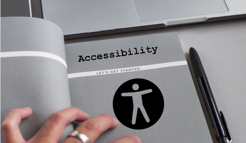 Book with text accessibility and a black pen