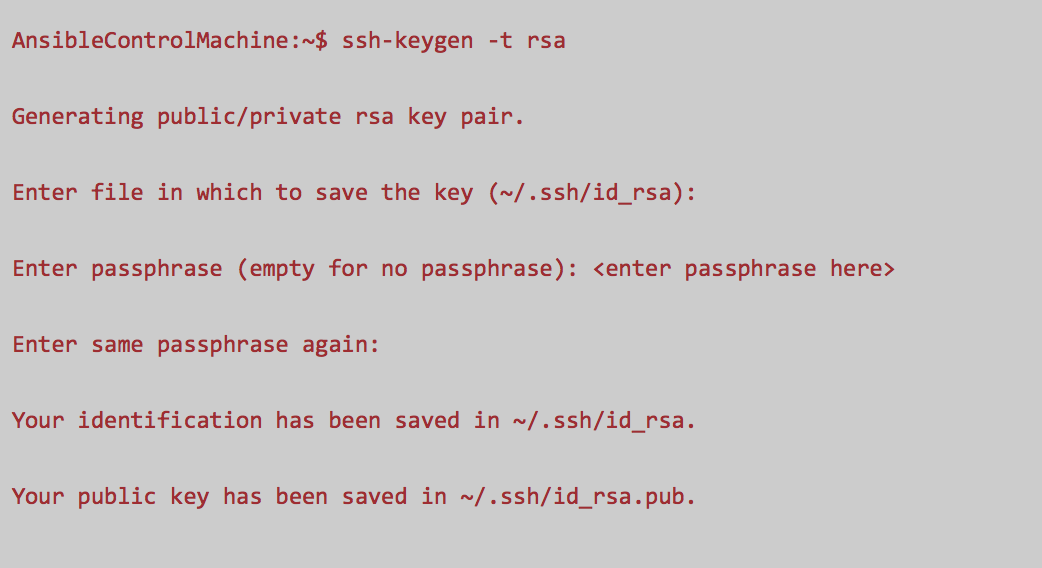 generate ssh key for user ansible