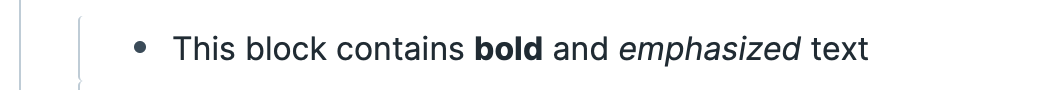 Roam block with bold and emphasized text.