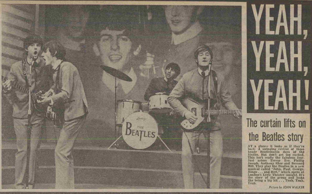 Page 11 of the Daily Mirror, 15 August 1974, announcing the opening night of John, Paul, George, Ringo…and Bert.