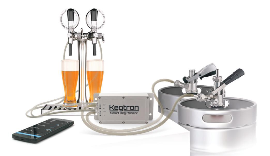 Kegtron system shown with keg monitor hardware and phone app