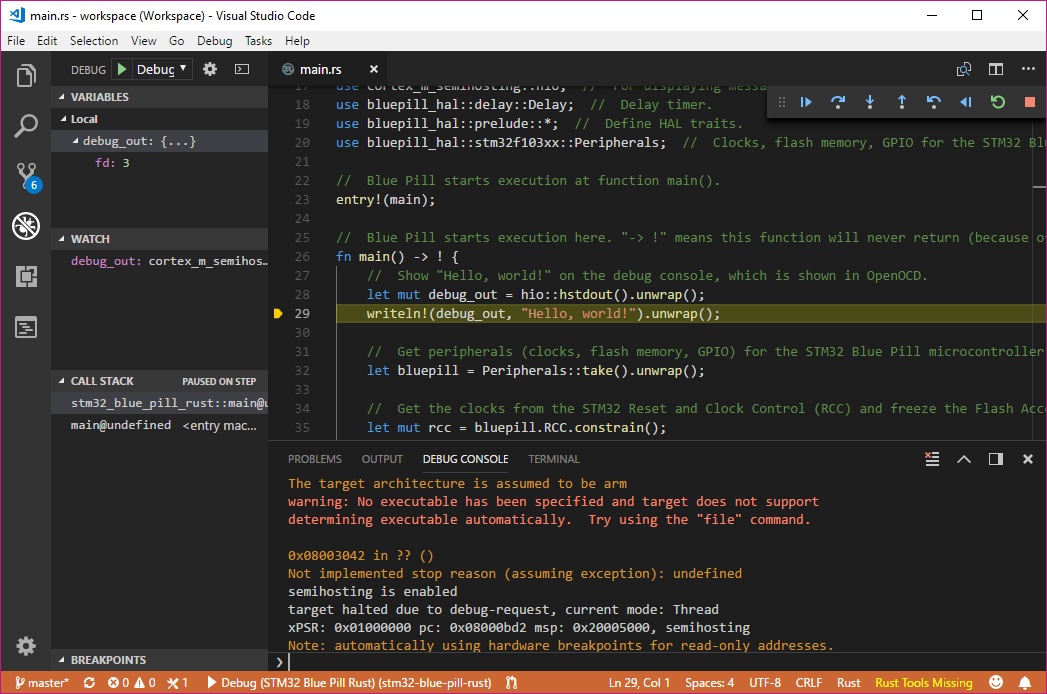 Coding the STM32 Blue Pill with Rust and Visual Studio Code