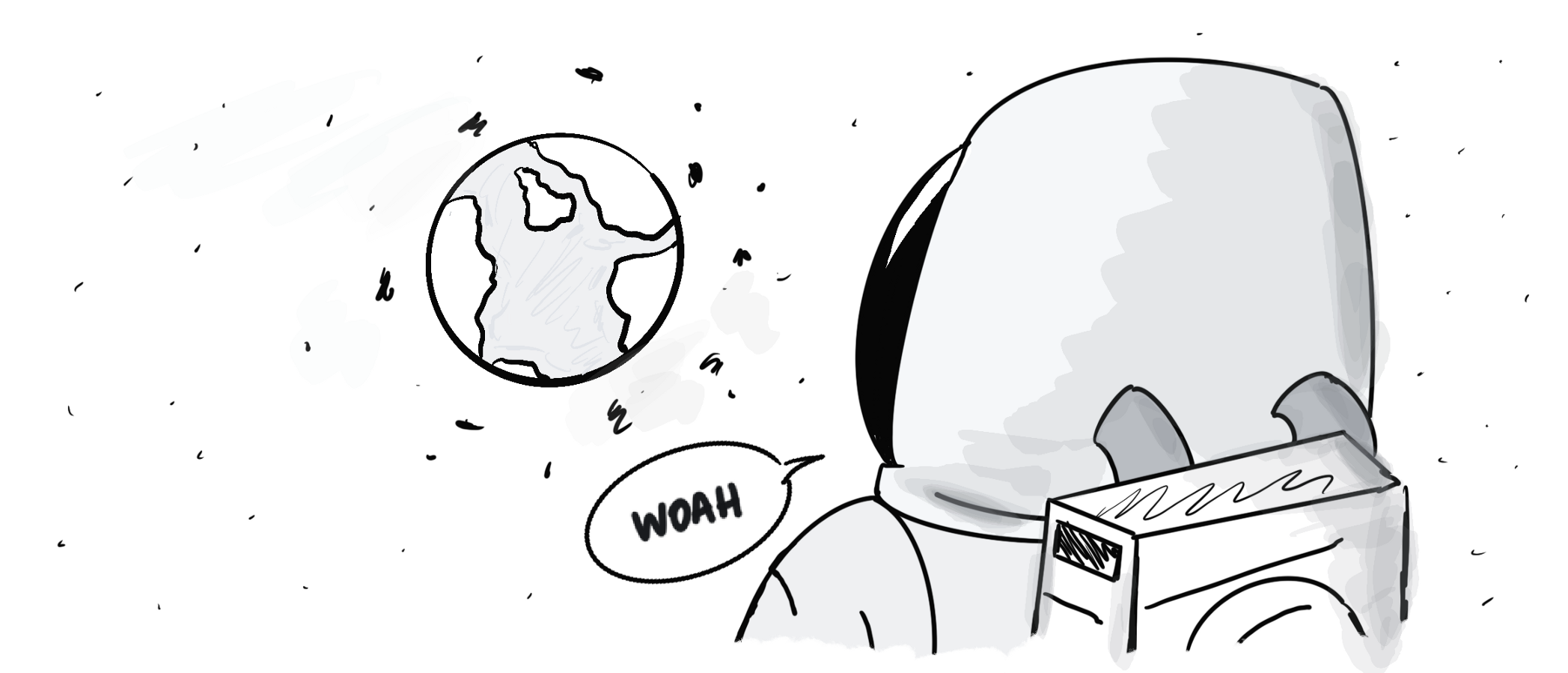 An astronaut saying 'Woah' whilst looking at Earth,