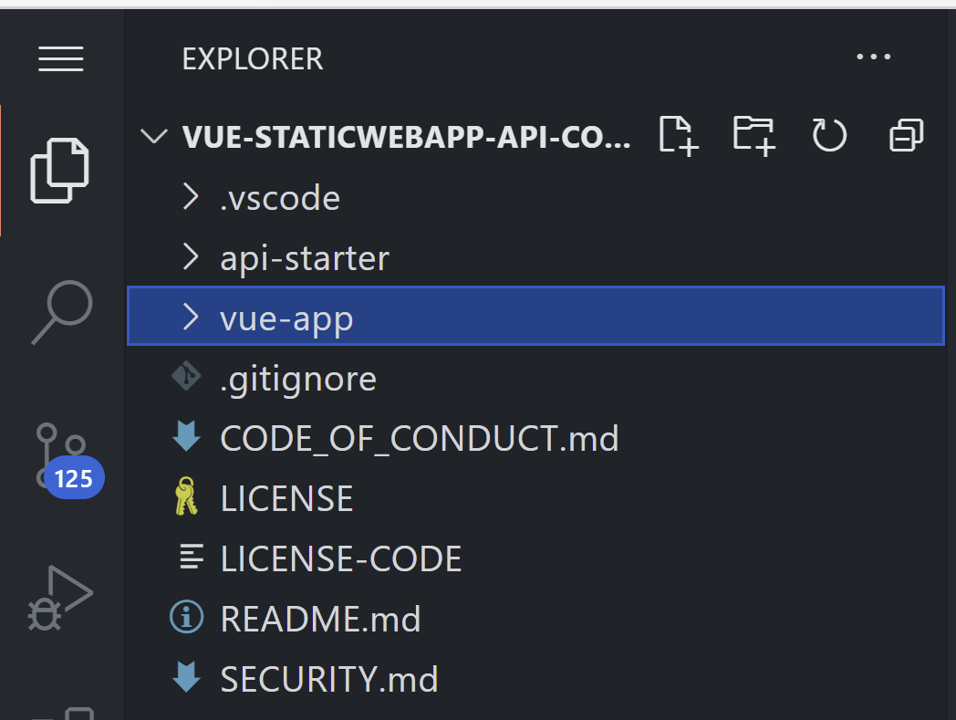 Folder of structure of Vue.js Static Web App with vue-app folder highlighted. Folder structure displays .vscode, api-starter, vue-app folders and boilerplate .gitignore, Code of conduct, license, readme files.