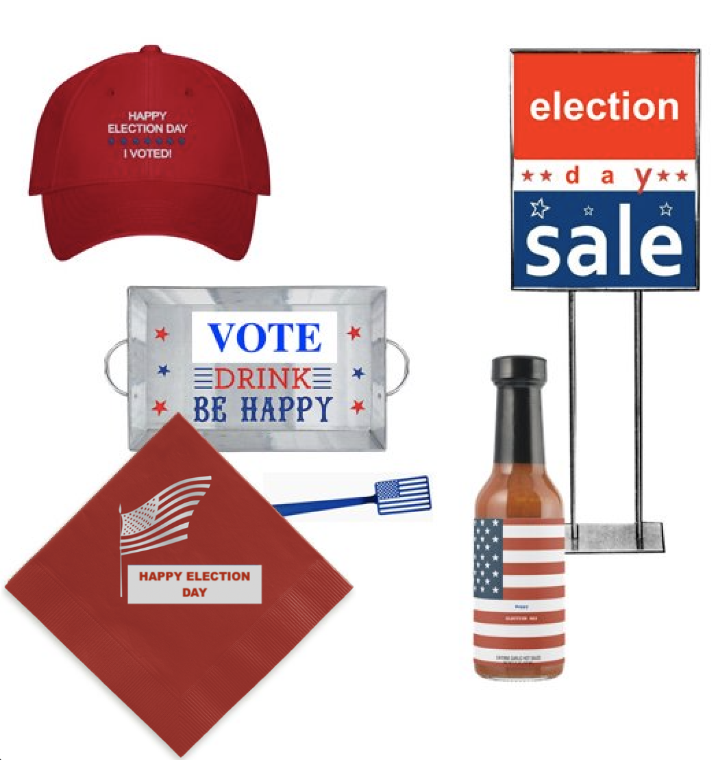 "Election Day merchandise. ""I Voted"" hats, hot sauce, ""election day sale"" signs, patriotic spatulas."