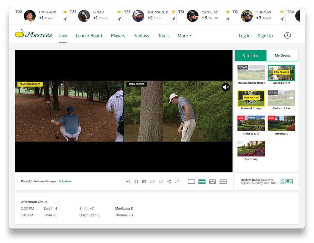 Masters.com Live Streaming Multiple Groups