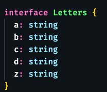 interface with 5 single letter properties: a through d and z