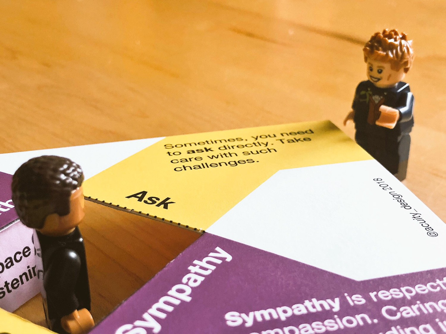 At another corner, the minifig points at text about Asking
