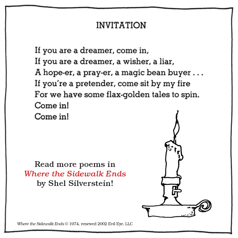 picture regarding Poems for Two Voices Printable identified as 21 Limited and Lovable Shel Silverstein Poems Thatll Carry Your self