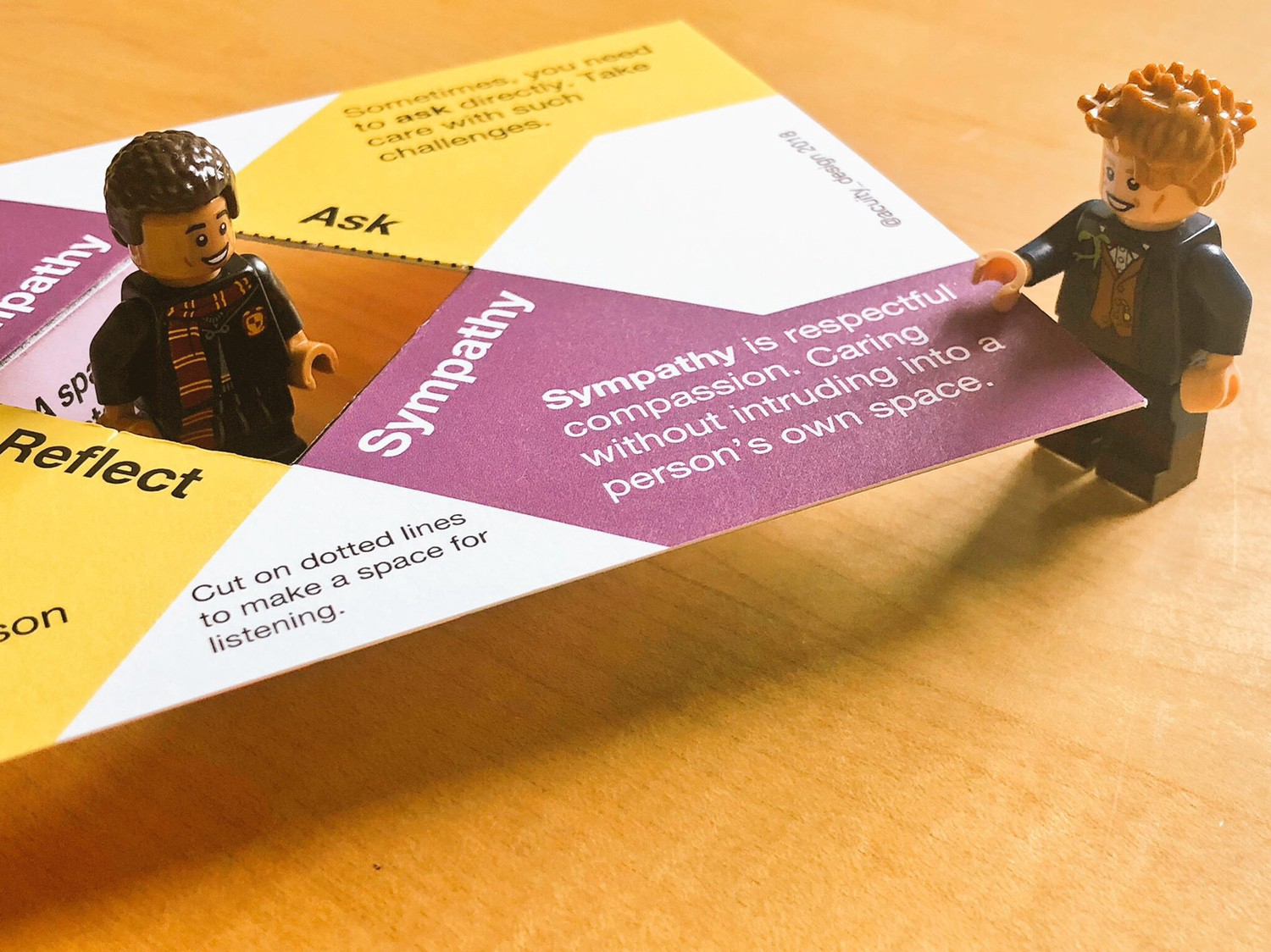 Minifig points at words on card about sympathy being respectful compassion