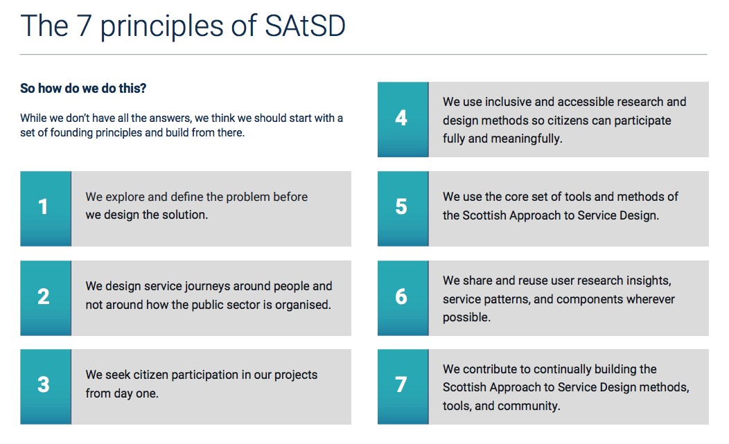 the 7 principles of the Scottish Approach to Service Design