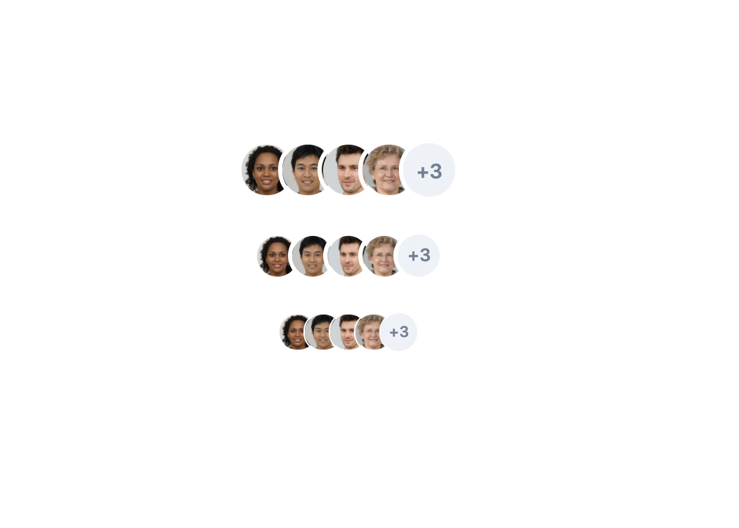 three rows of overlapping circular profile pictures