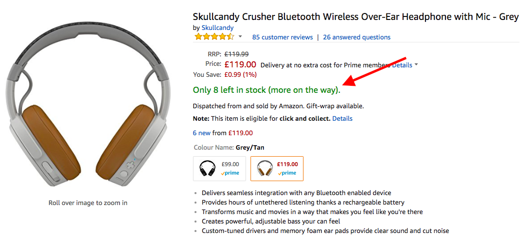 """Amazon page featuring a product that says """"Only 8 left in stock"""""""
