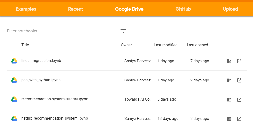 Figure 5: Screenshot showing how to upload a notebook directly from Google Drive to Google Colab.