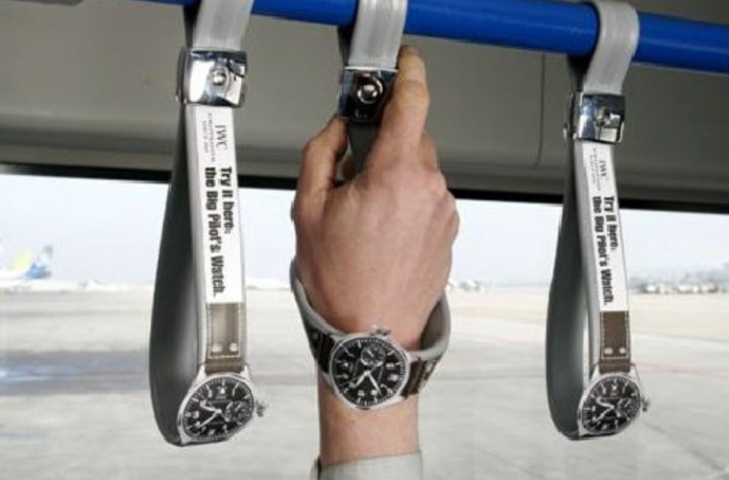 A bus strap turns into an interactive IWC Big Pilot