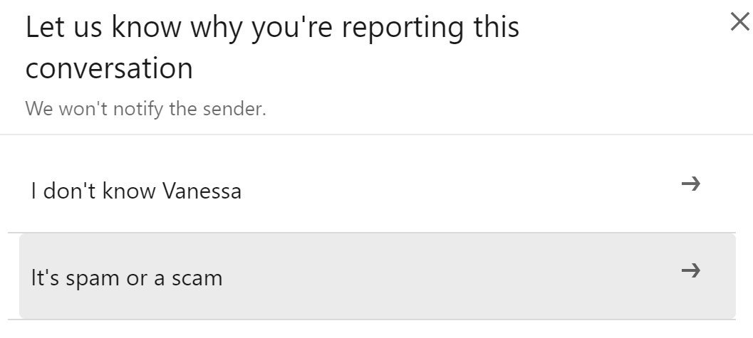 Reporting a scam artists on LinkedIn