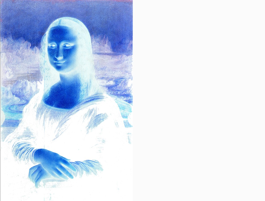 Mona lisa with colors inverted next to blank white space of equal size.