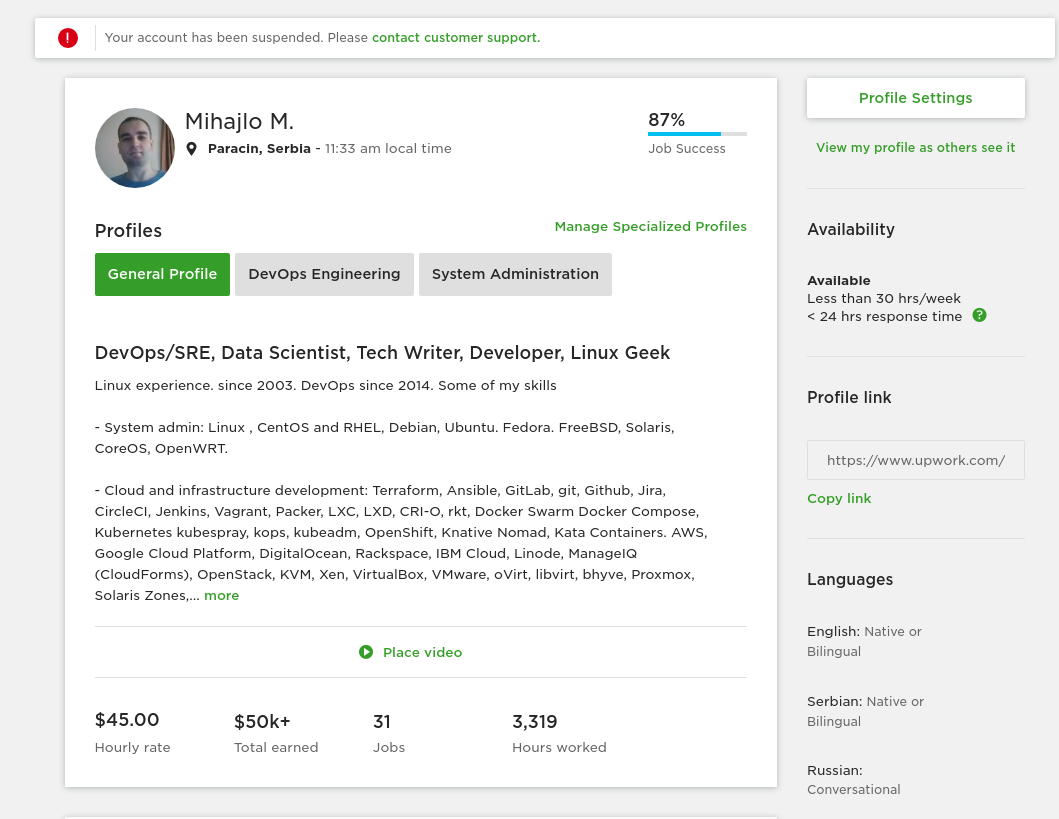 Upwork: Banned me after 3 years and $50k earned, for being
