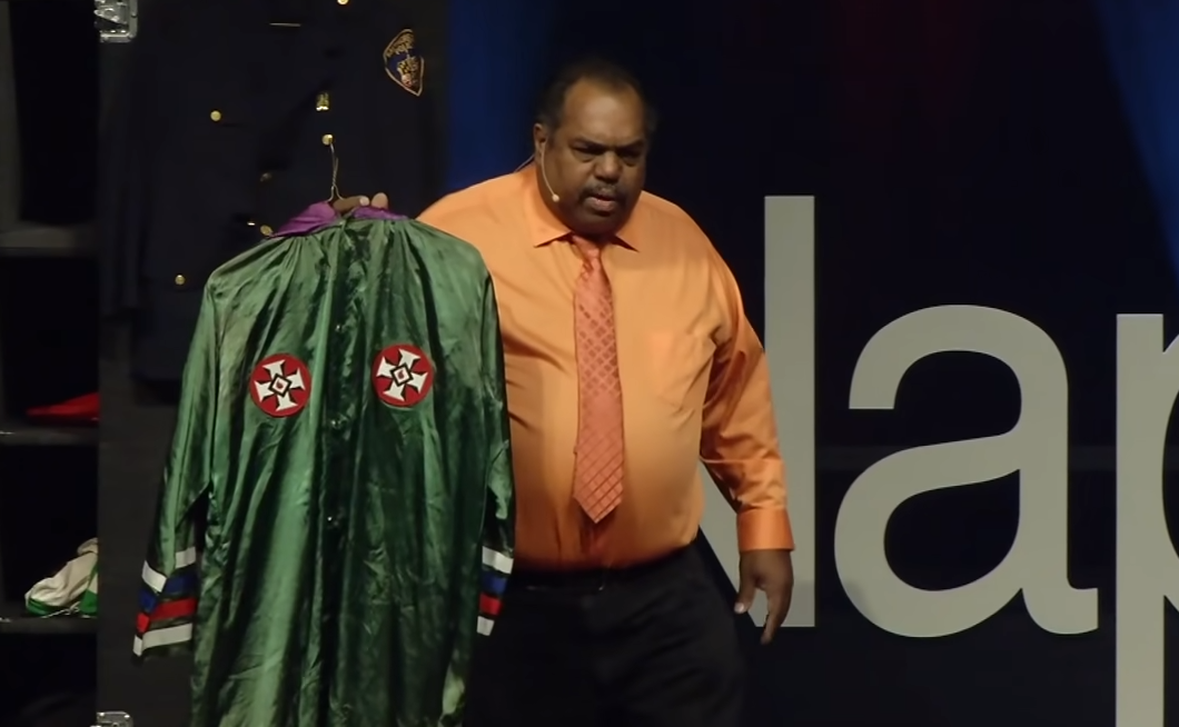 Daryl Davis with Robert White's KKK uniform (Grand Dragon of Maryland)