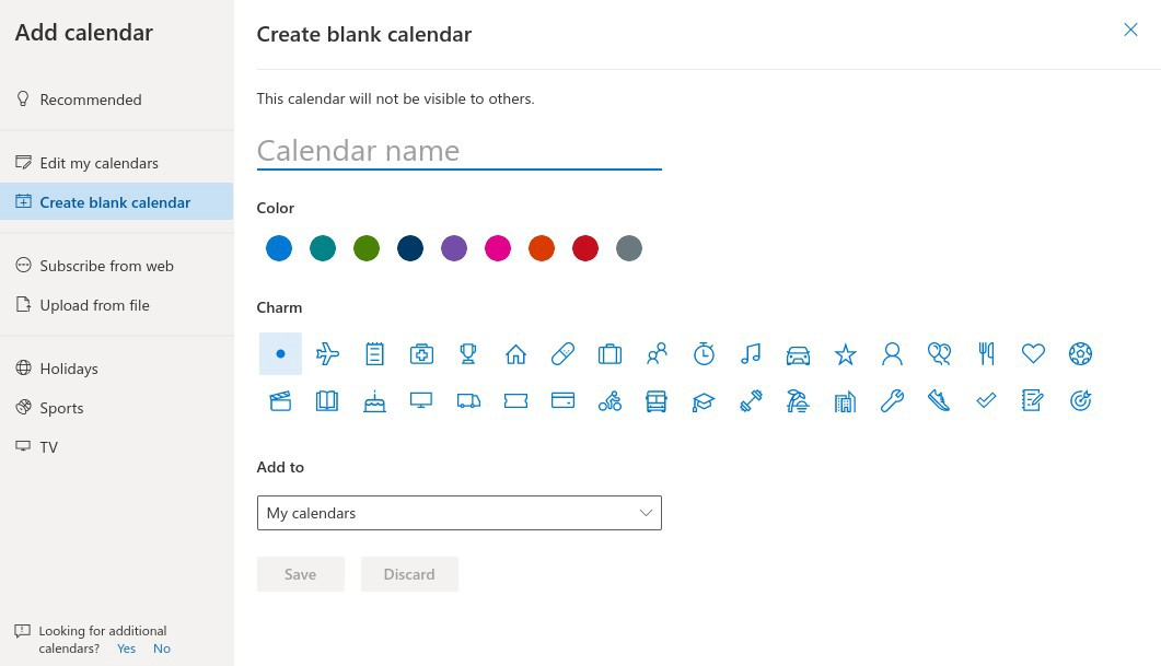 Outlook Calendar - Multiple Calendars