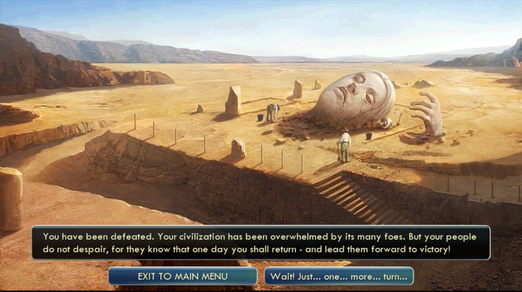 A screenshot of a broken statue in the desert, a description of defeat, and two buttons—exit to menu and continue playing