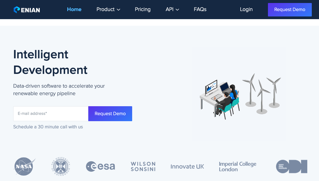 Landing page from https://enian.co