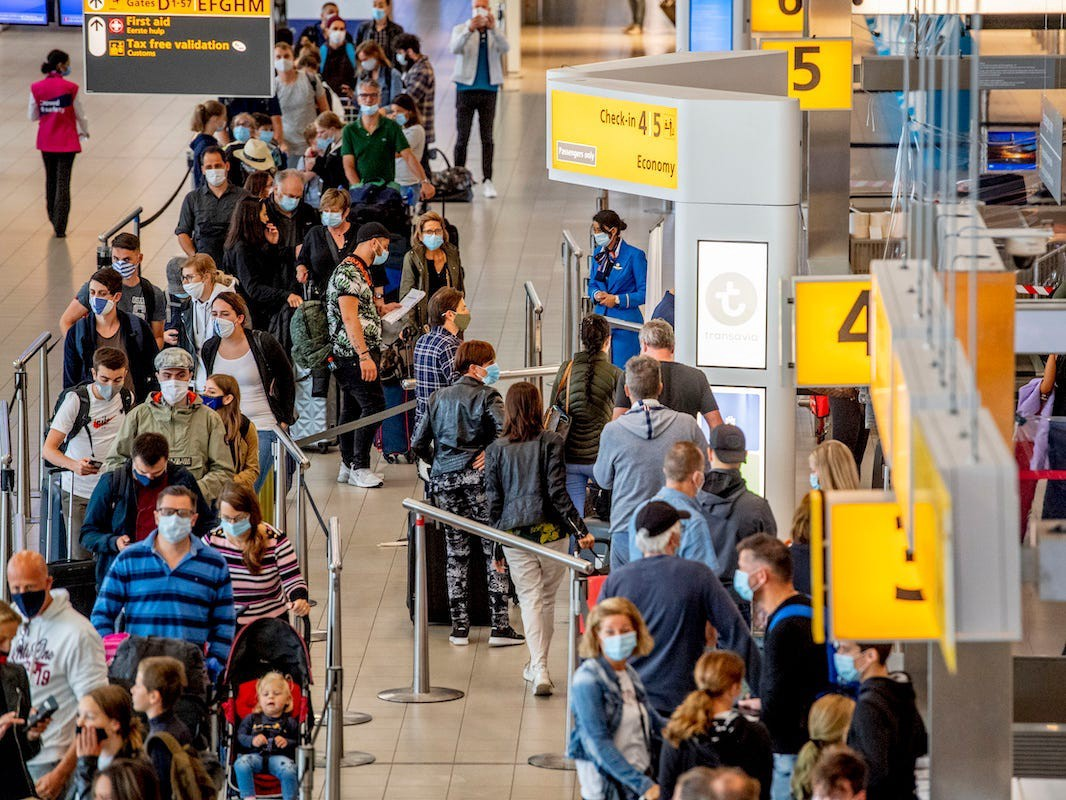 Crowds at Schiphol airport in the Netherlands.