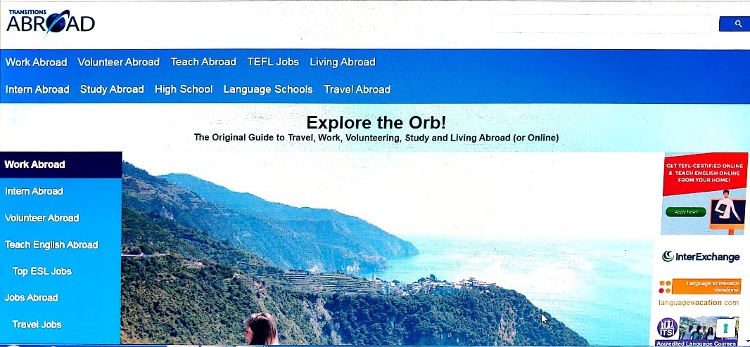 screenshot of Transitions Abroad home page
