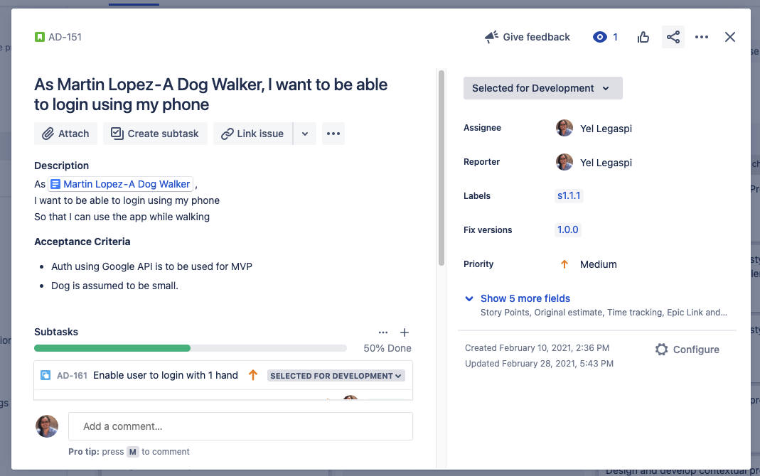 A Jira Issue view