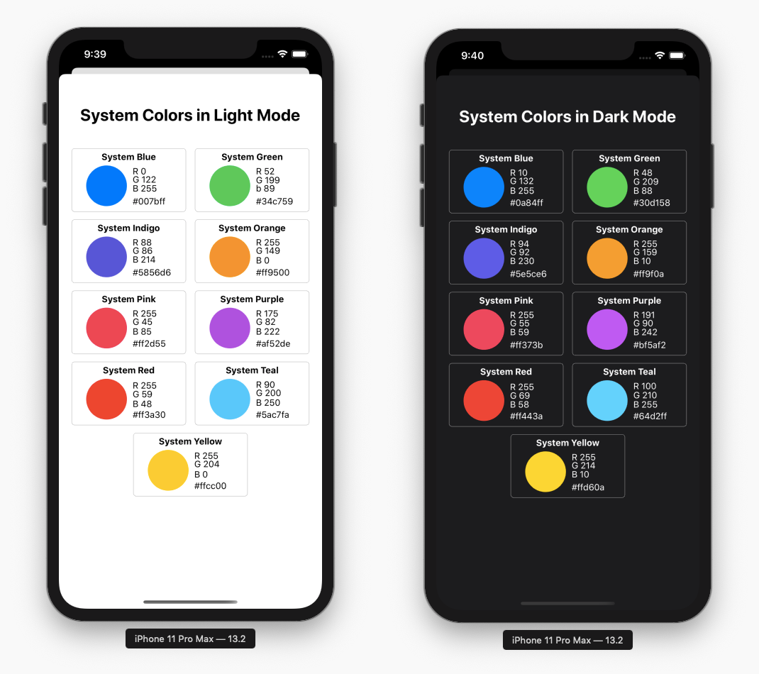 iOS system colors in light mode and dark mode with color code