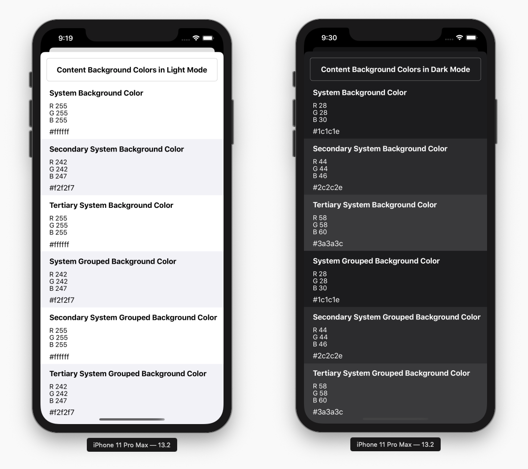 iOS content background colors in light mode and dark mode with color code