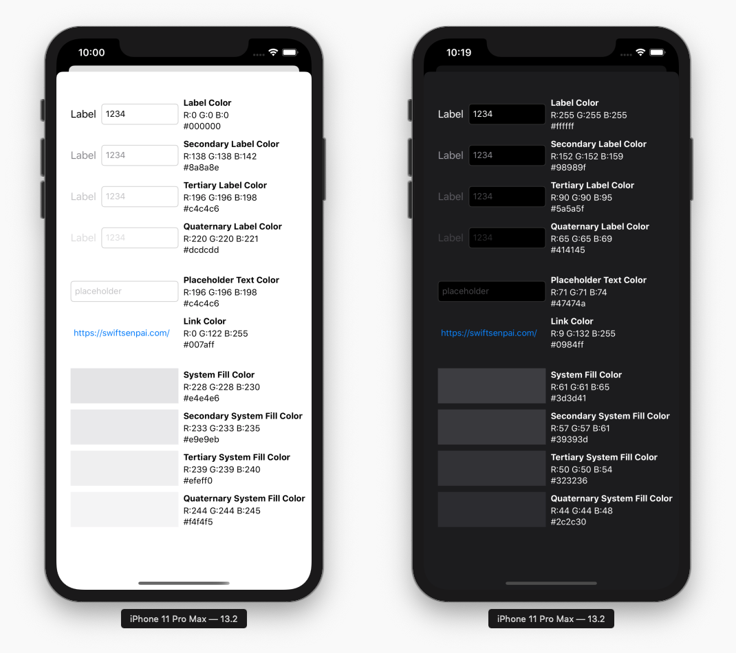 iOS UI elements semantic colors in light mode and dark mode with color code