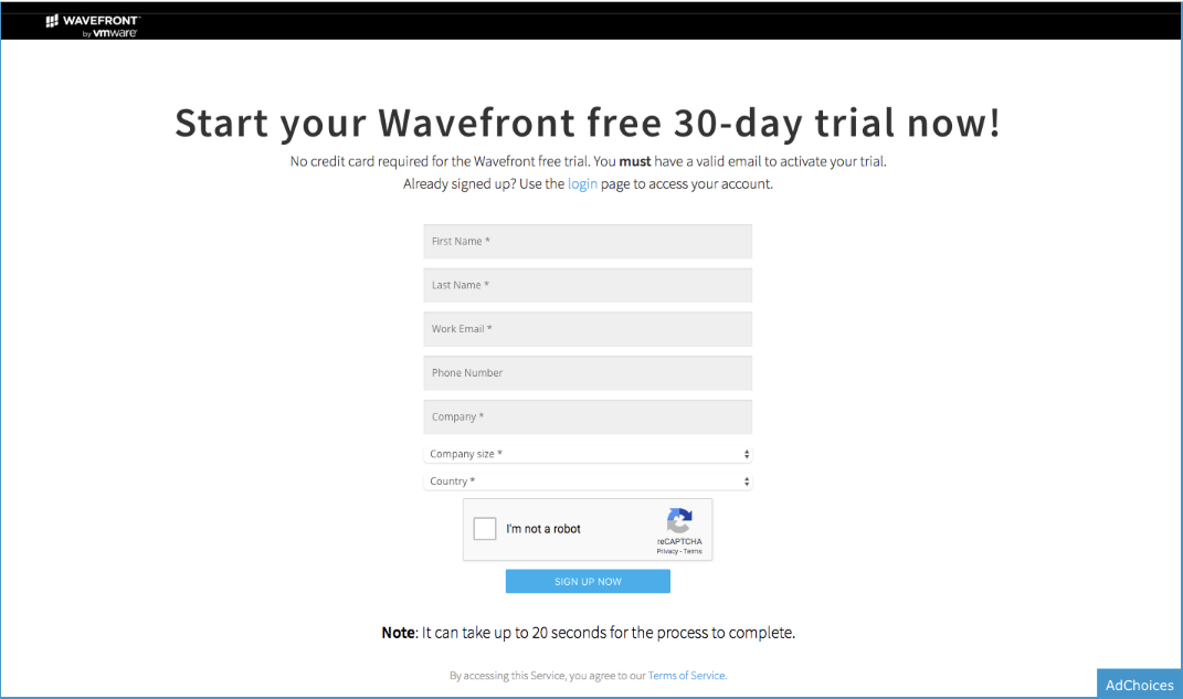Screenshot of the old sign up form for Wavefront's 30 day free trial
