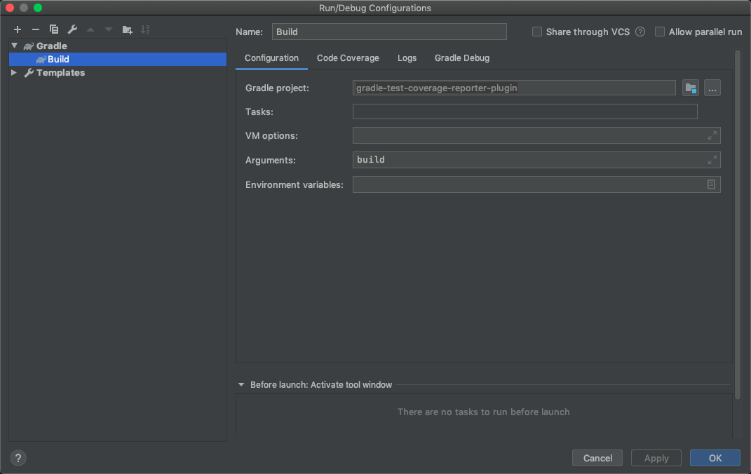 IntelliJ Build Configuration dialog