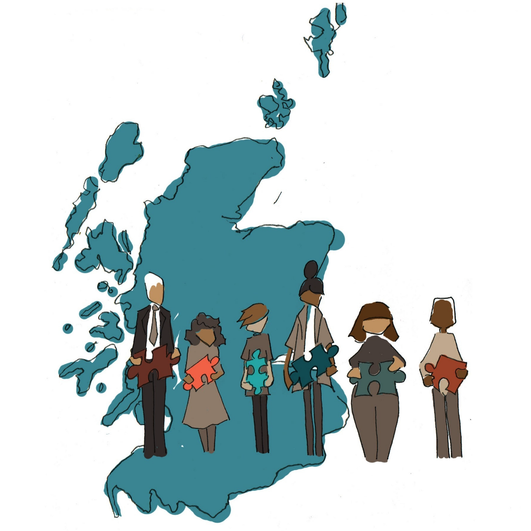 illustration—map of Scotland and in front 5 people with a jigsaw piece