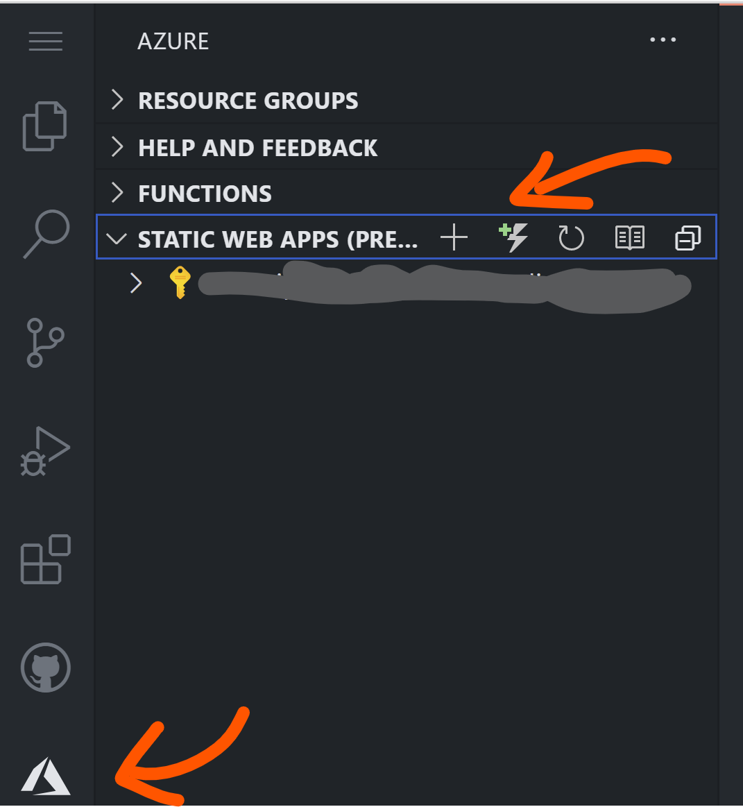 """Screenshot of Azure tab with an arrow pointing  to the Azure tab logo. Another Arrow pointing to the """"New Function"""" option in Static Web Apps folder."""