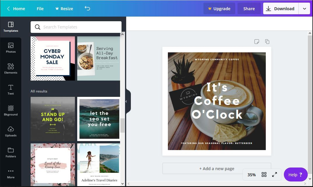 A screen shot of the Canva tool shows a variety of templates to choose from and a social media graphic in process.