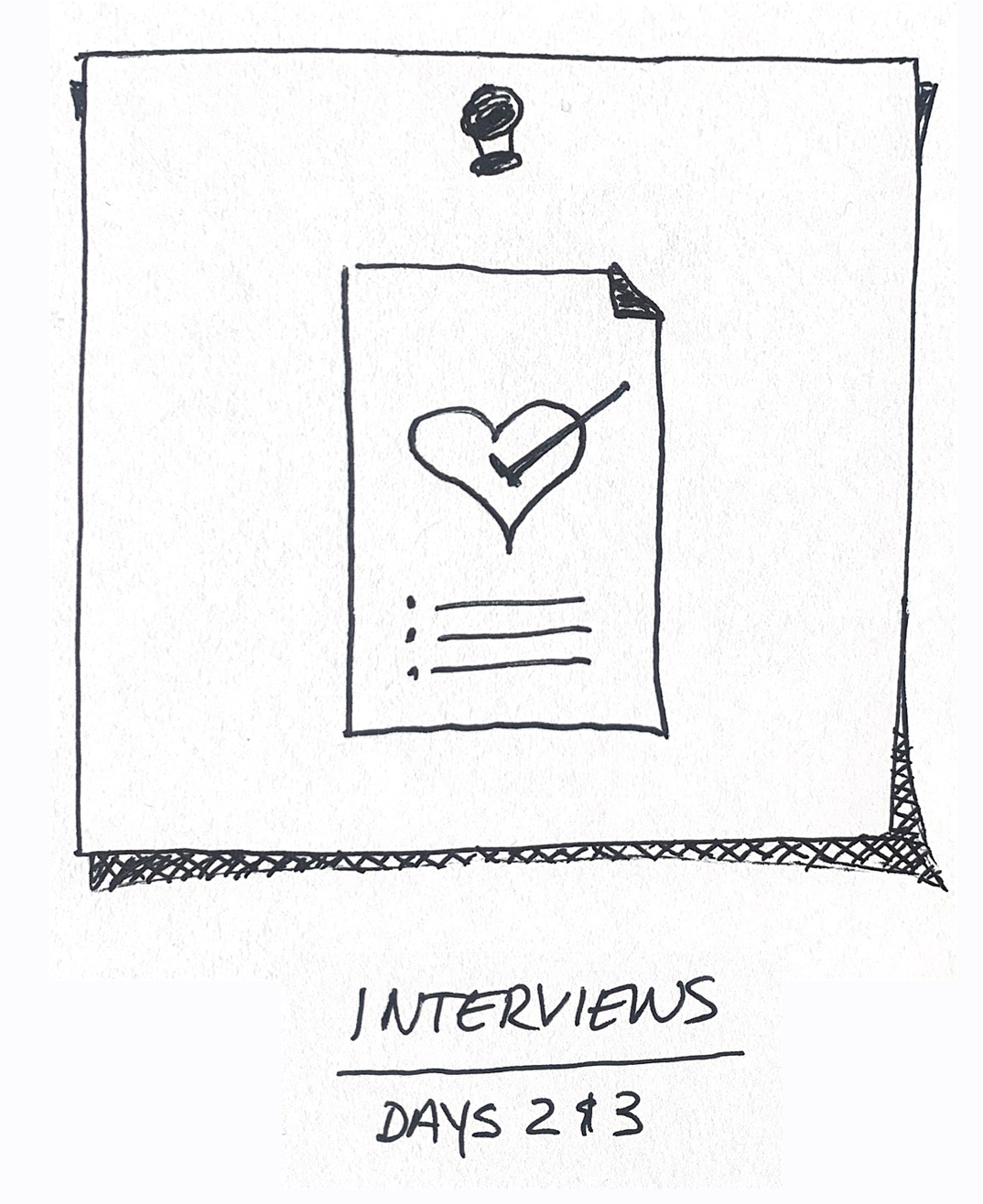 A sketch of a interview icon.