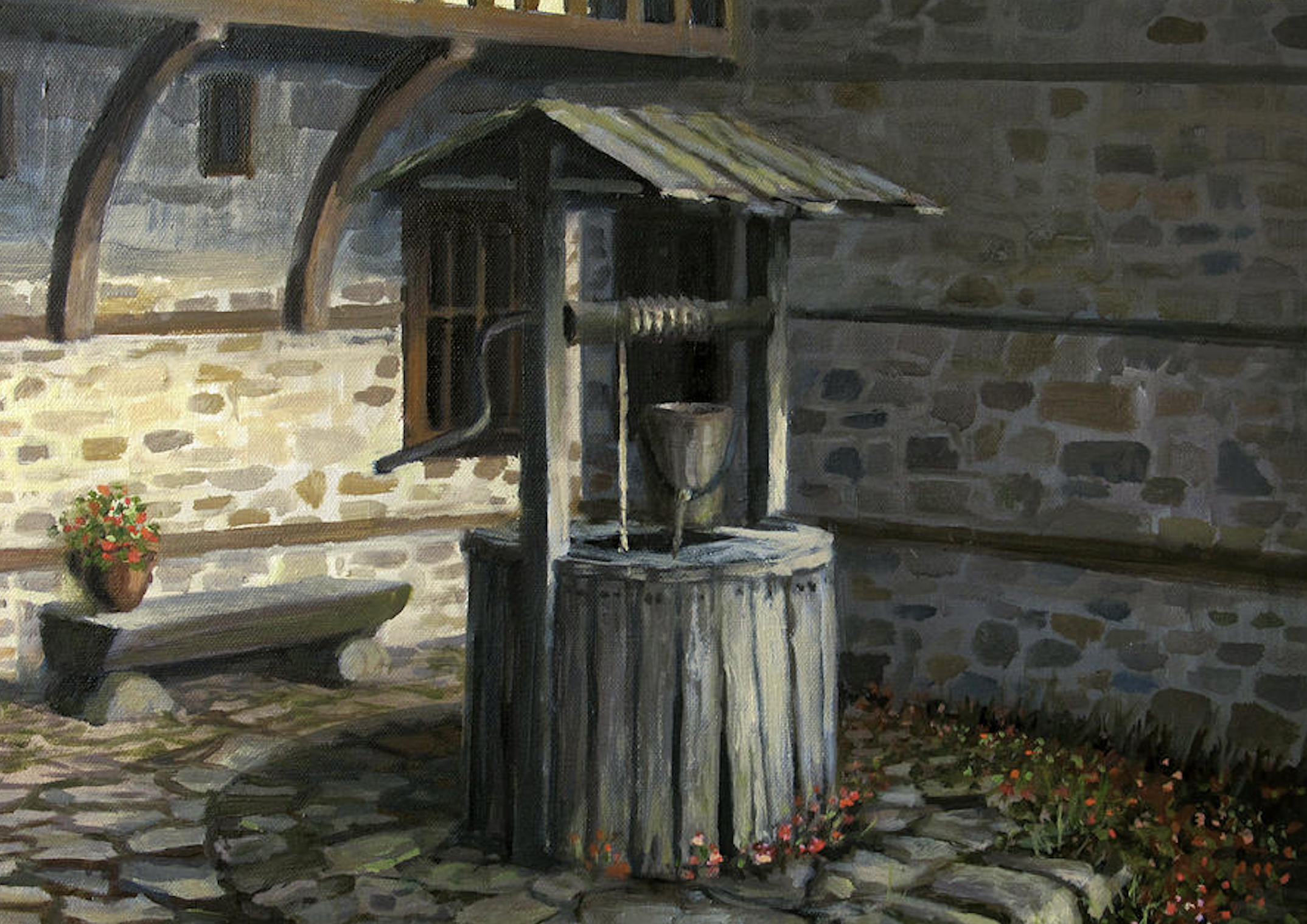 painting of a water well