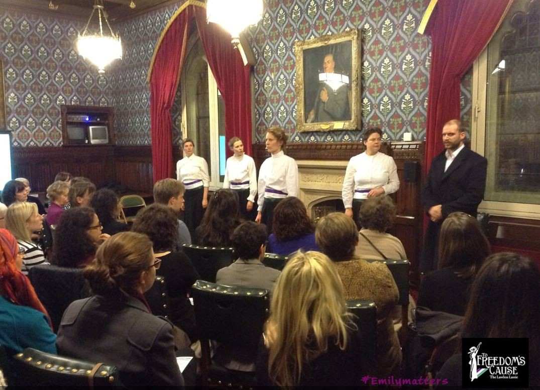 Colour photo of To Freedom's Cause cast at House of Commons performance, 2014, directed by Brian Astbury.