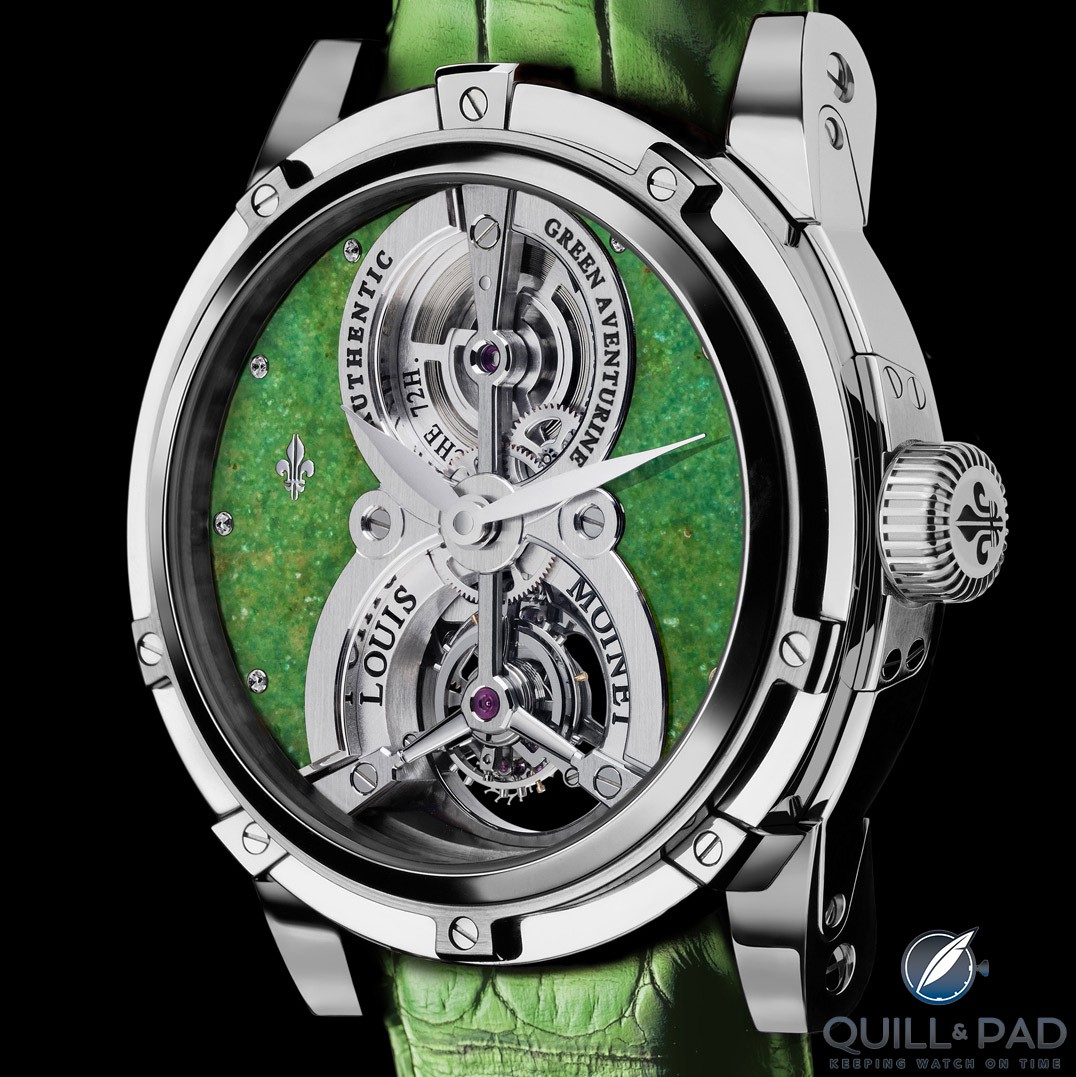 Louis Moinet's Treasures of the World Green Aventurine Vertalis Tourbillon seems to be only one of two wristwatches fitted with a quartz aventurine stone